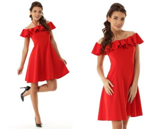 074f61525b Rozkloszowana sukienka hiszpanka wesele rozm M (7383814028 ...
