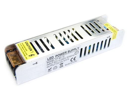 Zasilacz SLIM Impulsowy 60W 12V 5A Taśma LED RGB