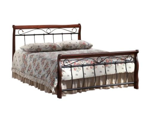 łóżko 160x200 Drewno Czereśnia Metal Czarnystelaż