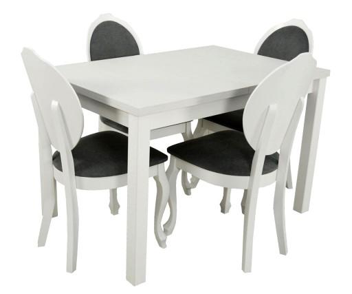 Stol 4 Krzesla Glamour Biale Drewno Ada Meble 7164733391
