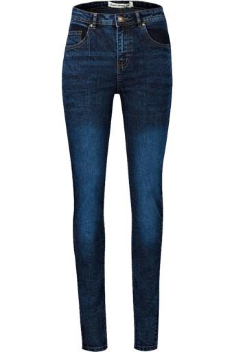 New Look Granatowe Jeansy Przetarcia Melanż XXL 44