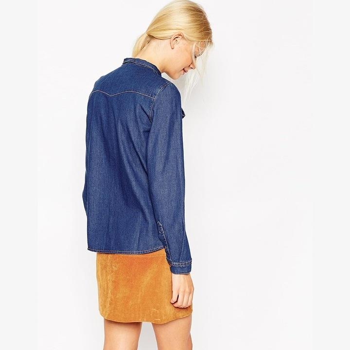 Women's denim shirt with a bow cheap L 40 9664446351 Odzież Damska Topy KZ ZRAFKZ-7