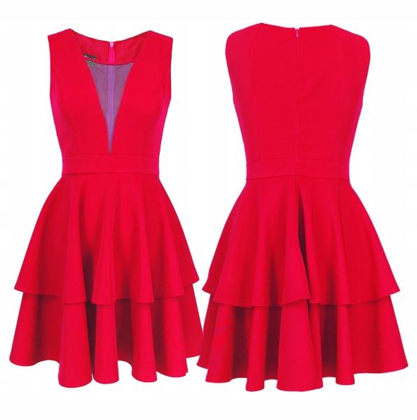 CAMILL 256 czerwona sukienka z falbanami r.42 24H 8248779665 Odzież Damska Sukienki wieczorowe YH ZFHGYH-4