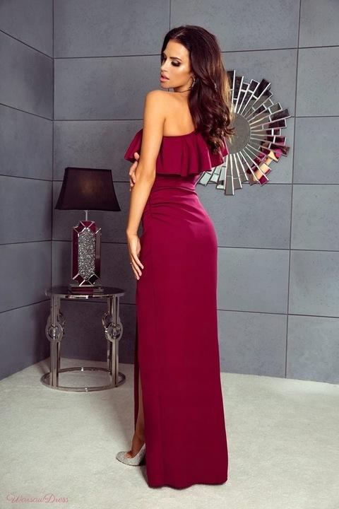 Maya CHABROWA DŁUGA SUKIENKA NA JEDNO RAMIĘ XL 9524669410 Odzież Damska Sukienki wieczorowe MK ACHSMK-9